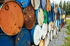Corrosión oxidada del tanque de aceite fotografía de archivo
