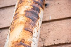 Corrosion on the drainpipe. Corrosion on the surface of the drainpipe stock photos