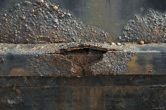 Corrosion. Metal and wood salt Corrosion royalty free stock image
