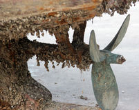 The corrosion of the propeller. Ships sailing in the sea all year round, and it suffered severe corrosion of propeller Royalty Free Stock Photo
