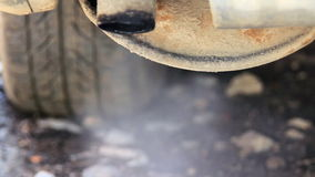 Corrosion tailpipe. Exhaust gas through corrosion tailpipe in car stock video