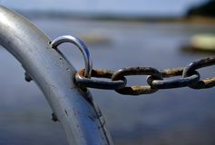 Corrosive chains symbolizing long lasting commitment. Close up view of corrosive chains symbolizing long lasting commitment stock photos