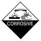 Corrosive Chemical Label. Black and white warning label for dangerous goods, corrosive agents Stock Photography
