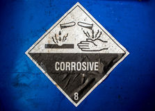 Corrosive material at the acid container. Transport index of corrosive material at the acid container Stock Photography