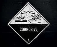 Corrosive material at the acid container Royalty Free Stock Image
