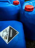 Corrosive material at the acid container. Transport index of corrosive material at the acid container royalty free stock photography