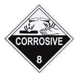 Corrosive Warning Label. United States Department of Transportation corrosive warning label isolated on white stock illustration