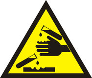 Corrosive warning sign Stock Photos