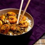 Corroyez les crevettes roses avec du riz - le fond noir 09 Image stock