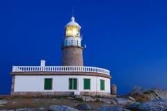 Corrubedo lighthouse at night Stock Photography