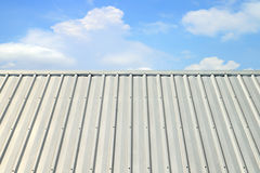 Corrugated aluminum roof Stock Photo
