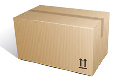 Corrugated box (ecology). Illustration of cardboard box from ecologically-clean material Royalty Free Stock Photography