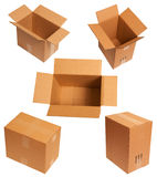 Corrugated boxes. Many corrugated boxes isolated white royalty free stock image