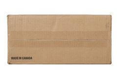 Corrugated Cardboard Box. Corrugated cardboard shipping box, made in Canada Royalty Free Stock Photo