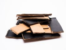 Corrugated cardboard close-up, renewable resources stock image