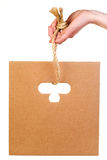 Corrugated cardboard hanging on rope Royalty Free Stock Photos