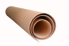 Corrugated cardboard rolled up royalty free stock photography