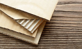 Corrugated cardboard sheets close up view for background. Royalty Free Stock Photo
