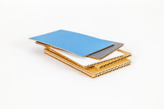 Corrugated cardboards in different colours Stock Photo
