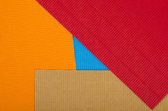 Corrugated color cardboard. Stock Photos