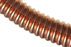 Corrugated copper tube Stock Photo