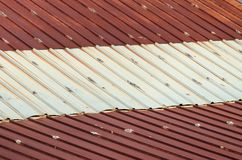 Corrugated galvanised sheet. Closeup of the corrugated galvanised sheet royalty free stock photo
