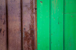 Corrugated iron metal, red and green Stock Images