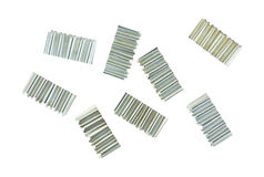 Corrugated joint fasteners on white background. Stock Photo