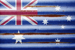 Corrugated Iron Australian Flag Background. A rustic Australian flag on a corrugated iron surface royalty free stock photo