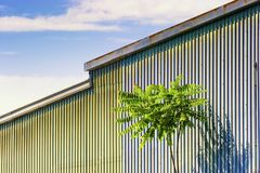 Blue Metal Siding Wall Texture Background Stock Image