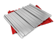 Corrugated metal sheet. 3d illustration  on white background Royalty Free Stock Photo