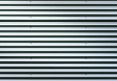 Corrugated Metal Sheet. Silver Gray Background Pattern With Shiny Reflection. Stock Image