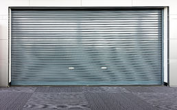 Corrugated metal sheet slide door Stock Image