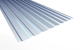 Corrugated metal sheet on white background. 3d Illustrations Royalty Free Stock Photos