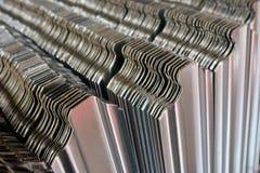 Corrugated metal siding. Fence details Stock Images