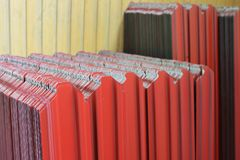 Corrugated metal siding. Painted fence Royalty Free Stock Image