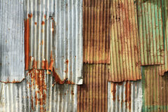 Corrugated metal wall. Rusty corrugated metal wall texture background royalty free stock photos