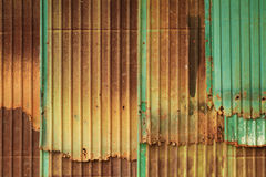 Corrugated metal wall. Rusty corrugated metal wall texture background Stock Photos