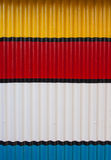 Corrugated paint metal. Colorful corrugated paint metal wall royalty free stock photo