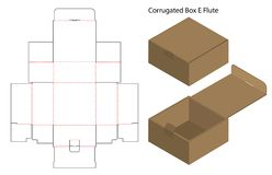 Corrugated paper box die cut with 3d mock up stock illustration