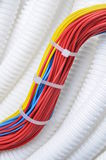 Corrugated pipe with cables Stock Photos