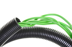 Corrugated pipe with cables Stock Photo