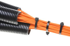 Corrugated pipe with cables Royalty Free Stock Image