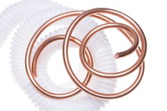 Corrugated pipe with copper wire Royalty Free Stock Image