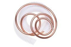 Corrugated pipe with copper wire Stock Image