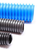 Corrugated pipe for electrical voltage cable Stock Image
