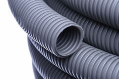 Corrugated pipe for installation of electrical cable Stock Image