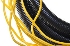 Corrugated pipe withe cables Stock Photos