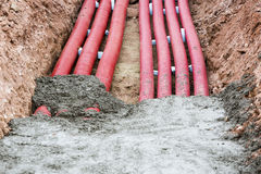 Corrugated pipes for electrical installation Royalty Free Stock Images