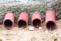 Corrugated pipes for electrical installation Stock Photography